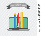 icon of open laptop  pencil ... | Shutterstock .eps vector #313454189