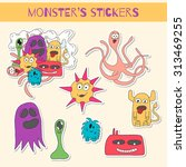set of stickers with doodle... | Shutterstock .eps vector #313469255