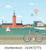 flat illustration of seaside... | Shutterstock . vector #313472771