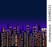 vector night city | Shutterstock .eps vector #313480121