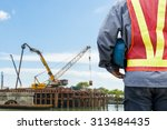 construction worker checking... | Shutterstock . vector #313484435