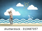 young hot woman in hat and... | Shutterstock . vector #313487357