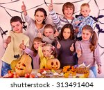 halloween party with group... | Shutterstock . vector #313491404