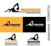 Mountains Excavator Vector Log...