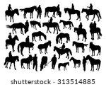 horses and people silhouettes... | Shutterstock .eps vector #313514885
