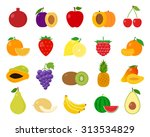 vector fruits flat icons set... | Shutterstock .eps vector #313534829
