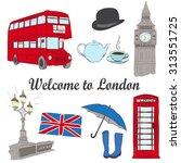 vector hand drawn london set... | Shutterstock .eps vector #313551725