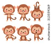 Set Of Cute Funny Monkeys In A...
