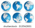 globe earth world map vector set | Shutterstock .eps vector #313562831