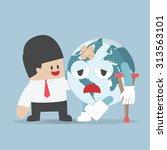 businessman helps injured... | Shutterstock .eps vector #313563101