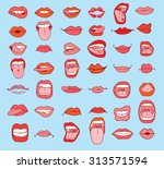 mouths collection in different... | Shutterstock .eps vector #313571594