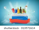 beverage in cooler filled with... | Shutterstock .eps vector #313572614