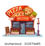 pizzeria building with bright... | Shutterstock .eps vector #313576685