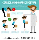 correct and incorrect posture ... | Shutterstock .eps vector #313581125