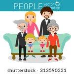 family group portrait parents... | Shutterstock .eps vector #313590221