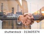 double exposure of business...   Shutterstock . vector #313605374