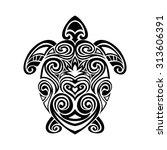 turtle in maori tattoo style | Shutterstock .eps vector #313606391
