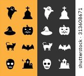collection of 8  halloween... | Shutterstock .eps vector #313608671