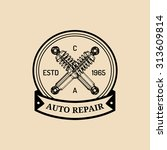 car repair logo with shock... | Shutterstock .eps vector #313609814