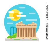 parthenon flat design landmark... | Shutterstock .eps vector #313610837
