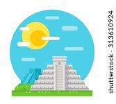 chichen itza flat design...   Shutterstock .eps vector #313610924