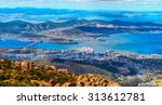 aerial panoramic view of hobart ...