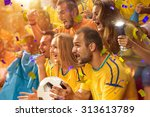 fun fans in stadium arena | Shutterstock . vector #313613789