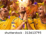 fun fans in stadium arena | Shutterstock . vector #313613795