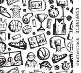basketball seamless pattern ... | Shutterstock .eps vector #313616921