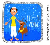 happy muslim man with goat on... | Shutterstock .eps vector #313625951