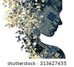 double exposure portrait of...   Shutterstock . vector #313627655