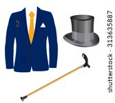 suit and hat with walking stick ... | Shutterstock .eps vector #313635887