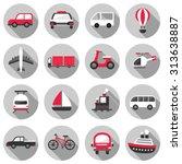 transportation flat icon set... | Shutterstock .eps vector #313638887