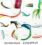 set of colorful flowing motion... | Shutterstock .eps vector #313639919
