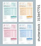 set of vector invoice design... | Shutterstock .eps vector #313647701