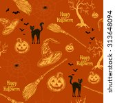 halloween seamless pattern with ... | Shutterstock .eps vector #313648094