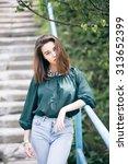 fashion shot of a beautiful... | Shutterstock . vector #313652399