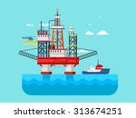 drilling rig at sea. oil... | Shutterstock .eps vector #313674251