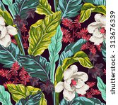 seamless pattern of exotic... | Shutterstock .eps vector #313676339