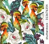 seamless pattern with bird of... | Shutterstock .eps vector #313676354