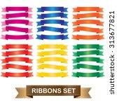 ribbon set  label banner vector | Shutterstock .eps vector #313677821