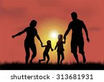 family silhouettes in nature. | Shutterstock .eps vector #313681931