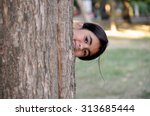 Child Playing Hide And Seek....