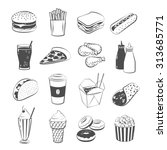 set of cartoon fast food ... | Shutterstock .eps vector #313685771