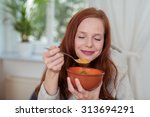 close up thoughtful young woman ...   Shutterstock . vector #313694291