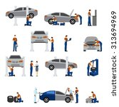 mechanic flat icons set with... | Shutterstock .eps vector #313694969