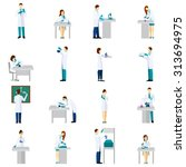 scientist person flat icons set ...