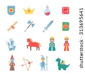 medieval games flat icons set... | Shutterstock .eps vector #313695641