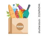 paper bag full of food. grocery ... | Shutterstock .eps vector #313696544