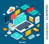 big data concept with isometric ... | Shutterstock .eps vector #313698581